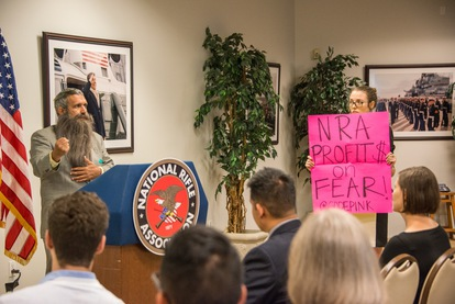 Share the Safety Press Conference - CODE Pink protestor