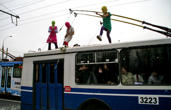Pussy Riot on a trolleybus