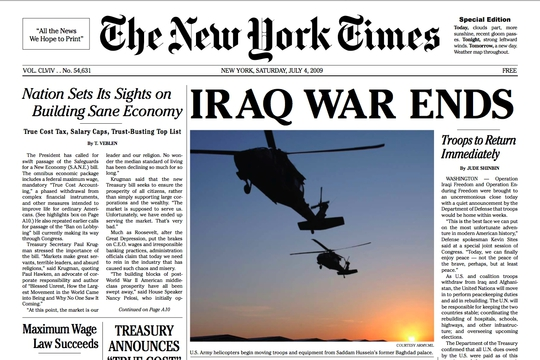 NY Times Special Edition, Nov. 12, 2008: Iraq War Ends!