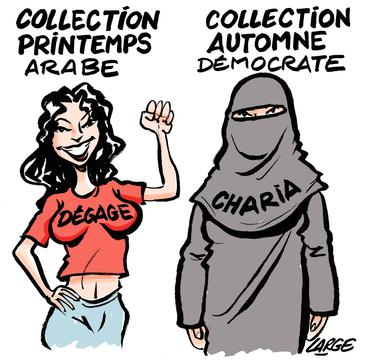 Cartoon: 'Collection Printemps Aarabes / Collection Automne Democrate'
